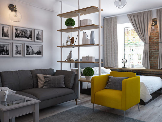 дизайн однокомнатной квартиры примеры дизайна