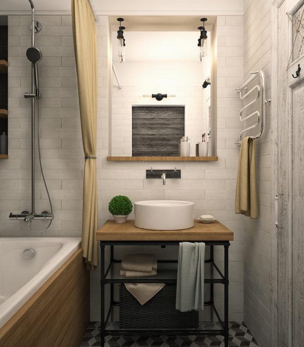 дизайн однокомнатной квартиры ванная