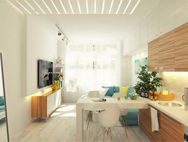 дизайн гостиной совмещённой с кухней