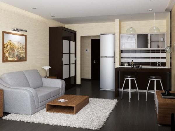 дизайн кухни студии площадью 16 кв м