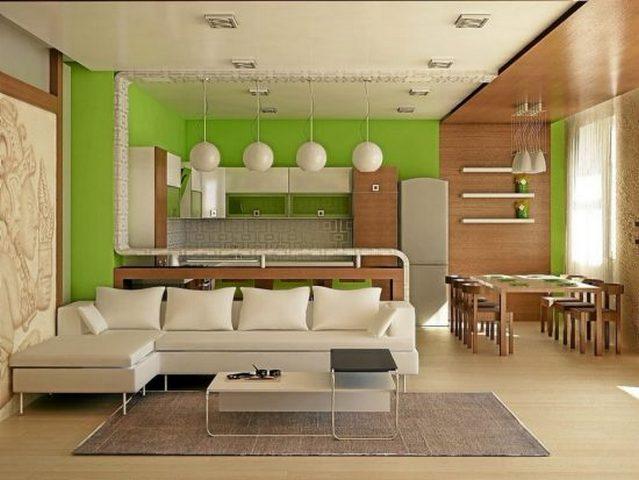 дизайн кухня гостиная столовая в частном доме зонирование цветом