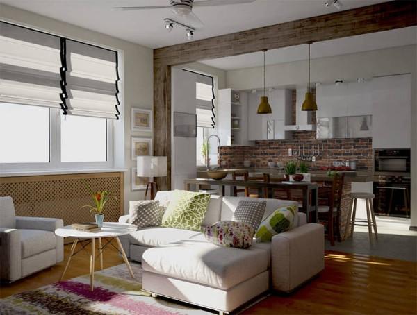 дизайн студии 20 кв м кухня гостиная