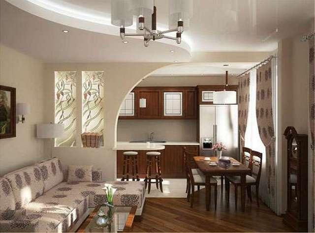 гостиная совмещённая с кухней в частном доме