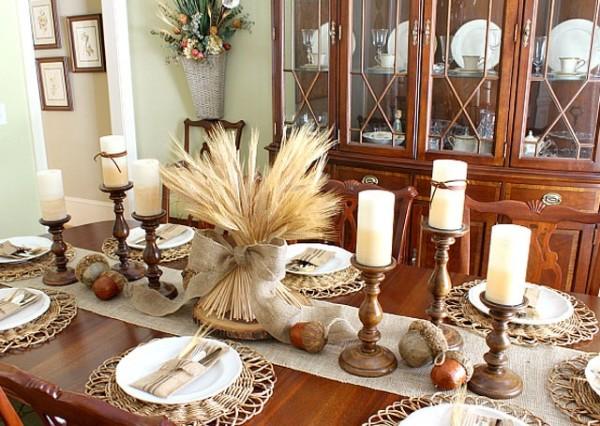 идеи для стола нежный букет из колосков осенний декор своими руками