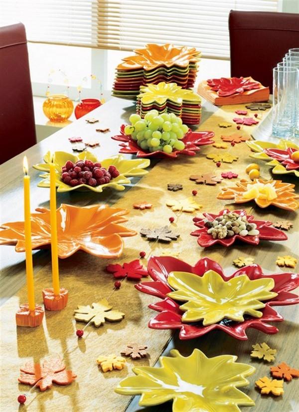 идеи осеннего декора комнаты стол