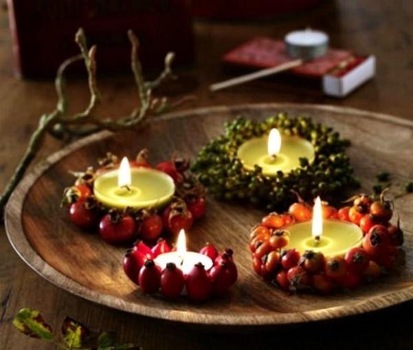 интересный осенний декор своими руками подсвечники из ягод