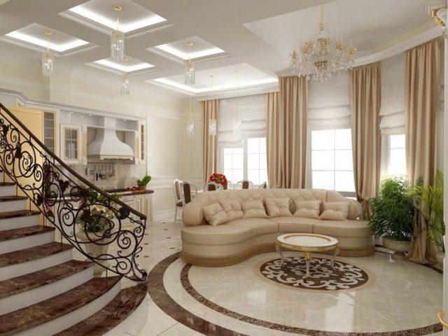 как оформить кухню гостиную в частном доме в классическом стиле