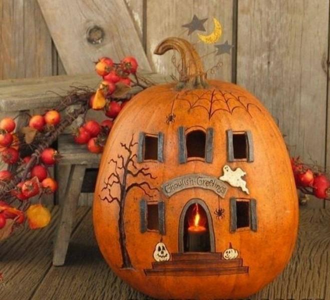 композиции из осеннего материала на хелоуин