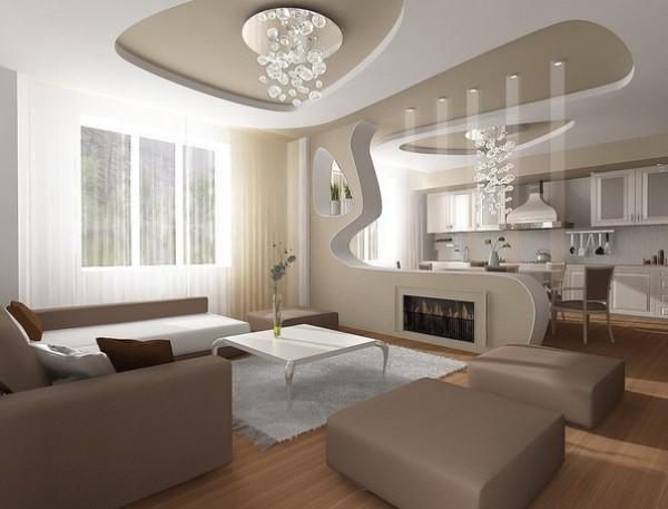 кремовый дизайн кухни-студии