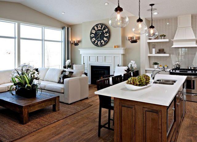 кухня гостиная в частном доме зонирование