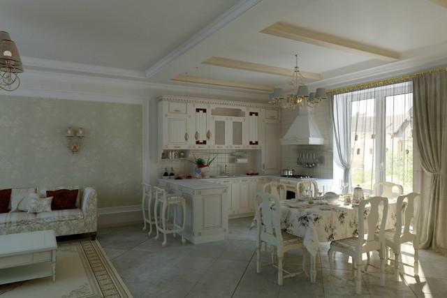 кухня и гостиная вместе в частном доме