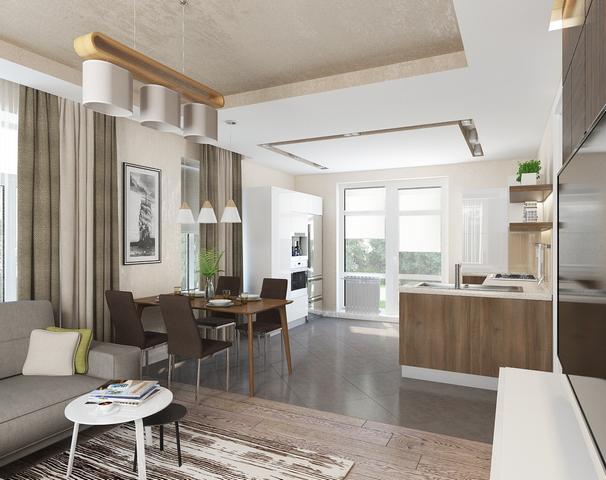 кухня столовая гостиная в частном доме