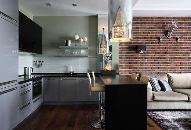 кухня в квартире студии барная стойка