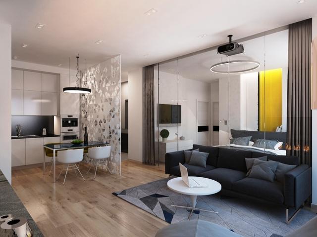 квартира студия в современном стиле гостиная кухня