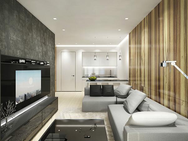 минимализм в итерьере однокомнатной квартиры на фото