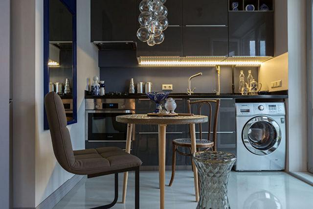 оформление кухни гостиной в частном доме