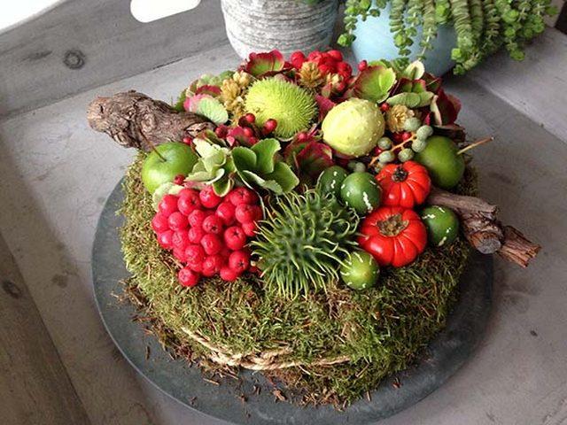 осенние композиции из овощей фруктов