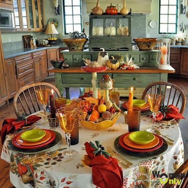 осенний декор комнаты тарелки