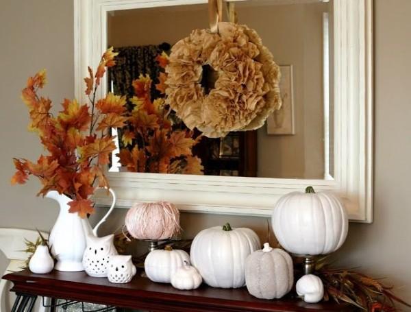 осенний декор своими руками белая тыква на стол консоль