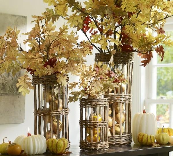 осенний декор своими руками интересные вазы