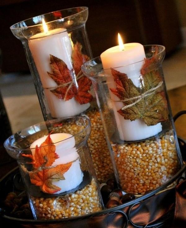 осенний декор своими руками подсвечники в стаканах