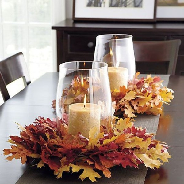 осенний декор своими руками свечи и листья