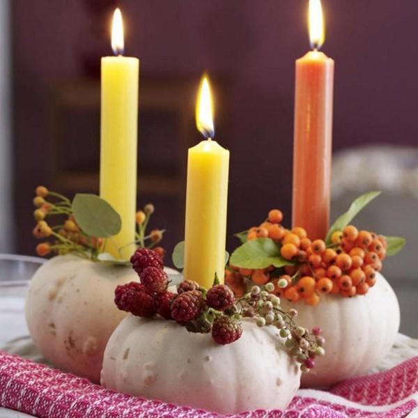 осенний декор своими руками свечи в тыкве