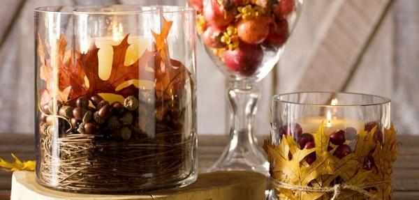 осенний декор своими руками свечи жёлуди ветки
