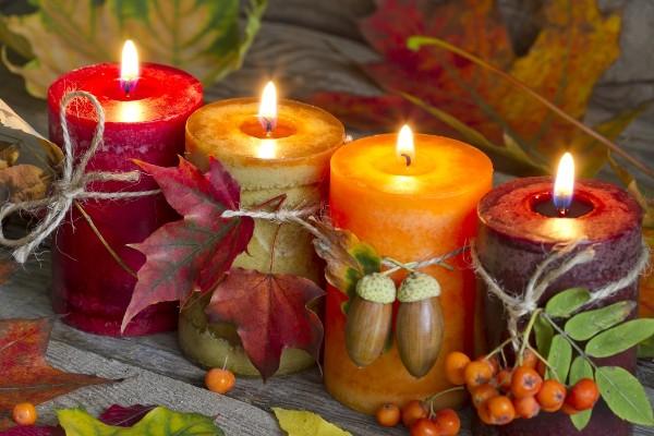 осенний декор своими руками свечи