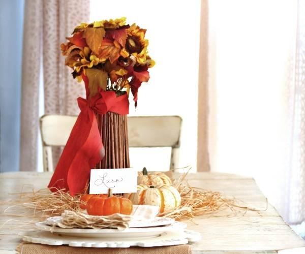 осенний декор своими руками ваза из веток
