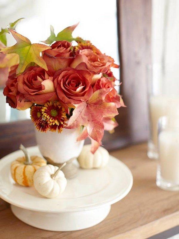 осенний декор своими руками ваза с цветами
