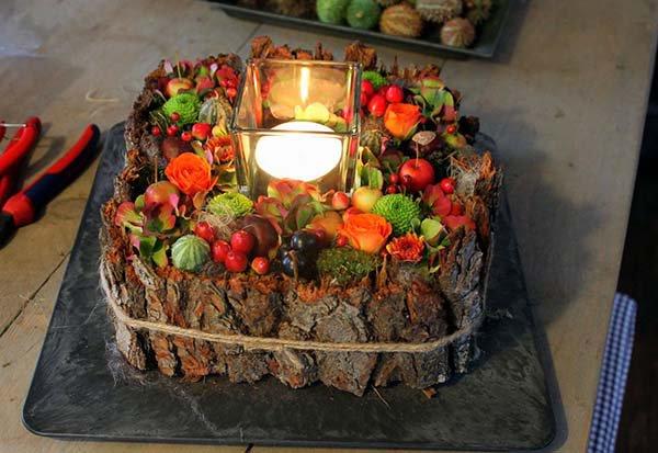 осенняя композиция свеча