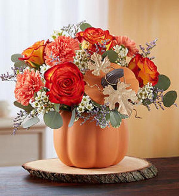 осенняя композиция тыква ваза
