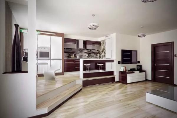 просторный дизайн кухни сттудии