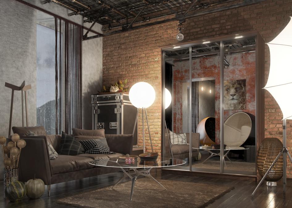 ремонт однокомнатной квартиры в стиле лофт примеры