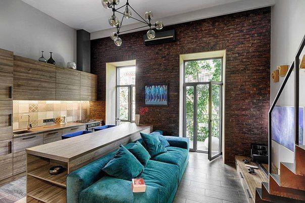 ремонт однокомнатной квартиры в стиле лофт с бирюзой