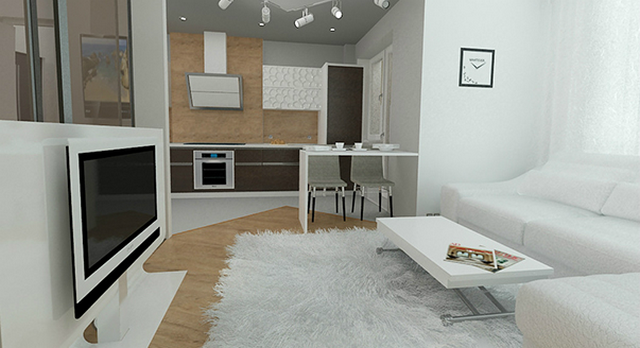 ремонт угловой однокомнатной квартиры пример на фото