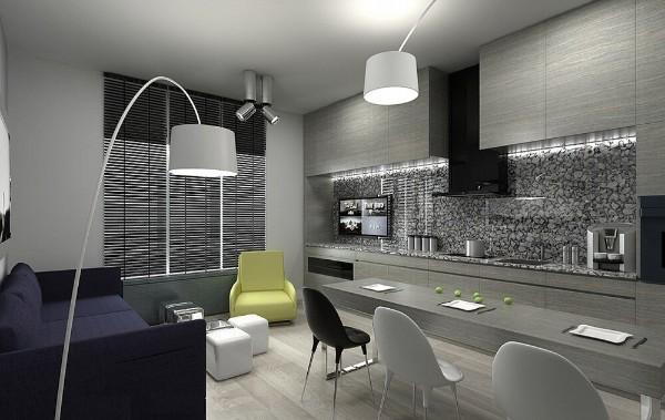 серый дизайн кухни-студии акценты диван кресло