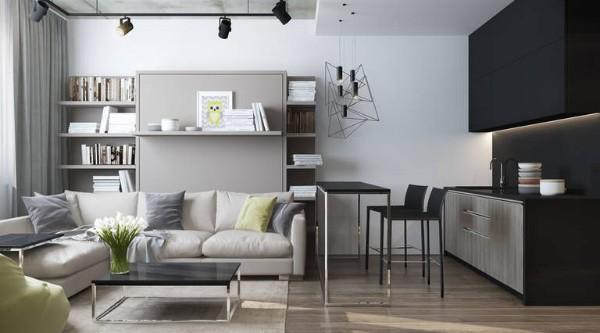 современный дизайн кухни студии в сером цвете