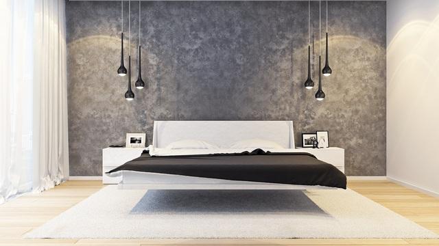 стиль минимализм в интерьере квартиры парящая кровать