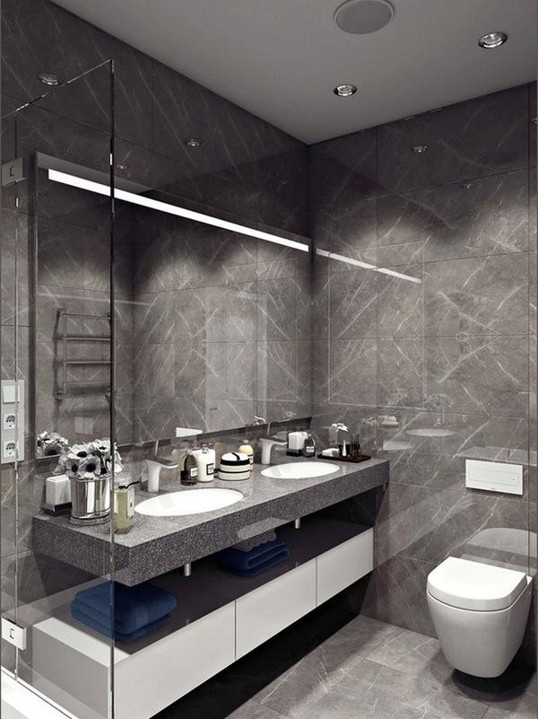 стиль минимализм в интерьере квартиры студии ванная фото