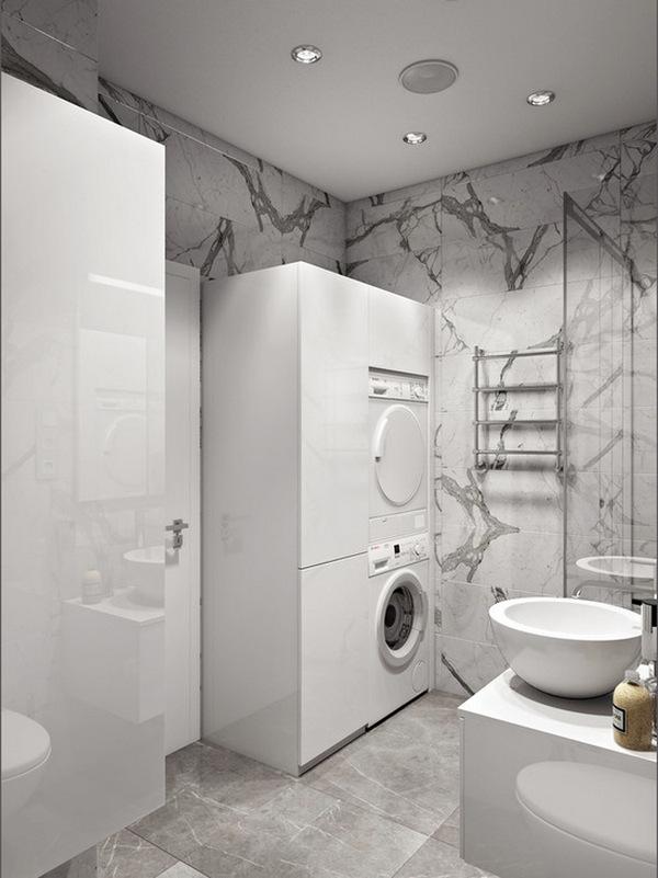 стиль минимализм в интерьере квартиры студии ванная