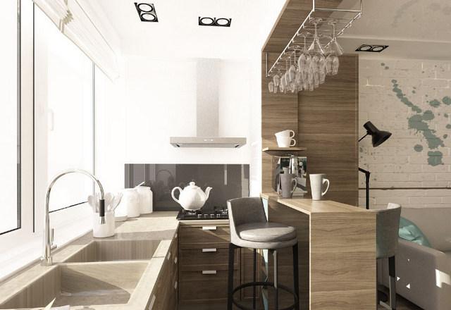 стильная кухня на балконе