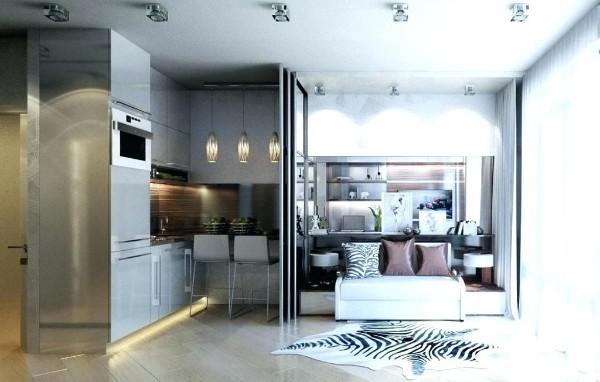 стильный дизайн кухни студии применение передвижной перегородки