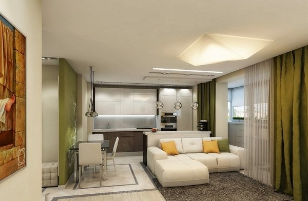 стильный дизайн кухни студии варианты зонирования