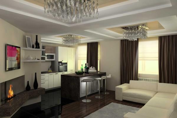стильный дизайн кухни студии