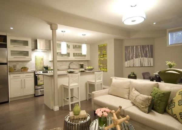 светло-оливковый дизайн кухни студии