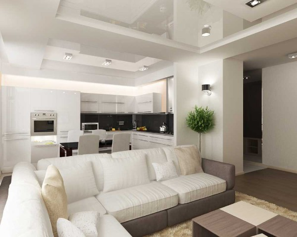 светлый дизайн кухни-студии с глянцевым потолком