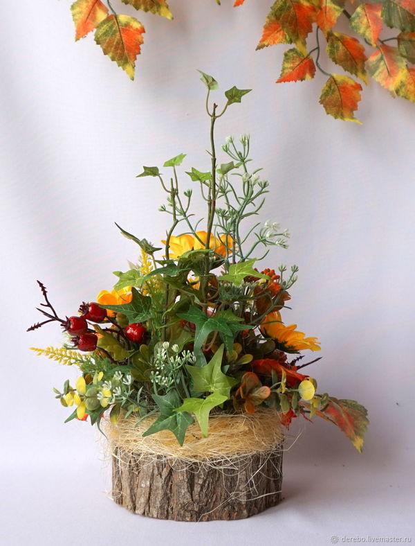 цветы и флористика композиция осень на пенёчке