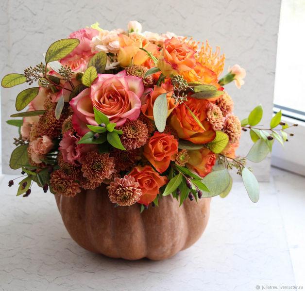 цветы и флористика осенняя композиция в тыкве осень